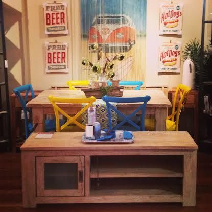 Mammoth table, with blue & yellow Wilson chairs and Amalfi TV cabinet