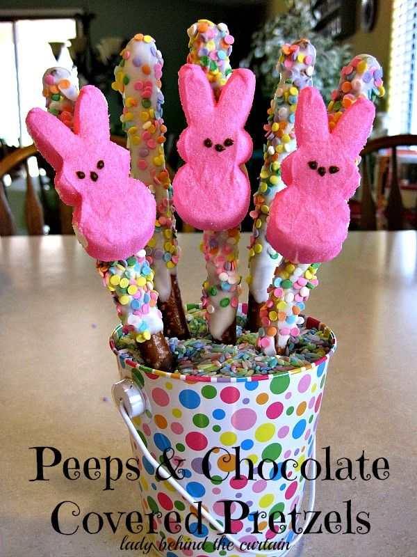 Lady Behind The Curtain - Peeps and Chocolate Covered Pretzels