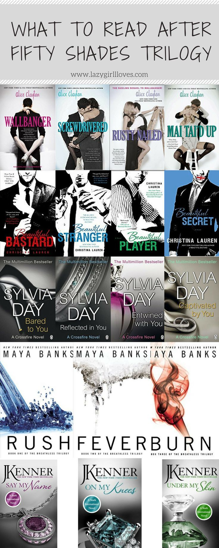 If like me you inhaled the Fifty Shades of Grey series then have I got the ultimate book list for you. In preparation for the release of fifty shades Freed, I thought this would be a great opportunity to take a look at a few of the series that are perfect for fans of Fifty Shades of Grey.
