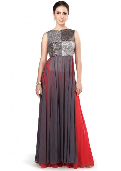 Ash grey suit enhanced in sequin and weave embroidery only on Kalki