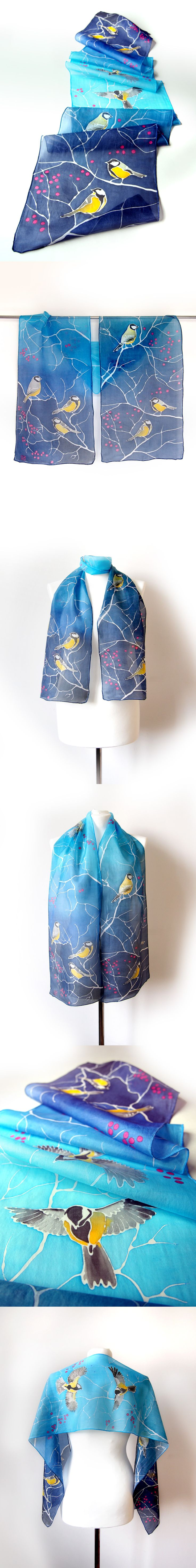 #tit #birds #hand #painted by Luiza #malinowska #minkulul on #silk #scarf