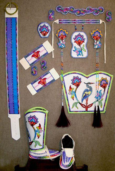 Ladies Jingle Dress Dance Set; Powwow Clothing; barrettes, earrings, hair ties, bracelets, rings, chocker, hairpiece, leggings and moccasins.  Native American, indigenous, aboriginal, beading, bead work by KQ Designs Custom Beadwork