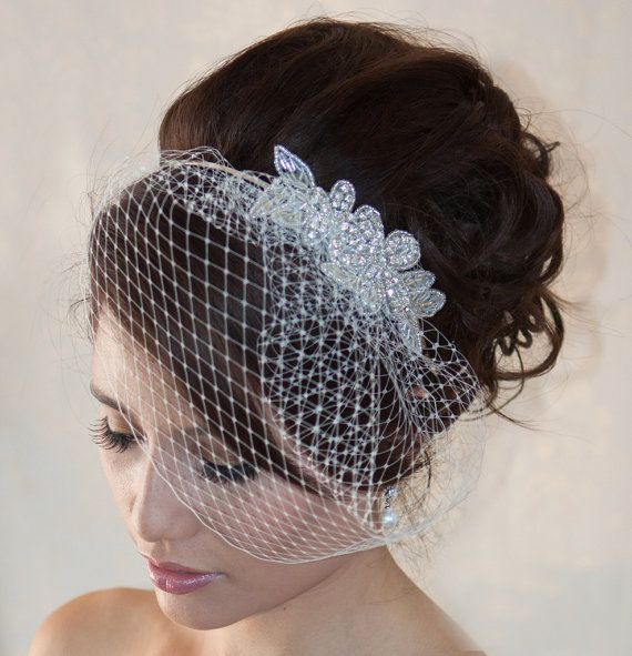Wedding Birdcage Veil  with Crystal rhinestone applique VI04 by wearableartz. Explore more products on http://wearableartz.etsy.com