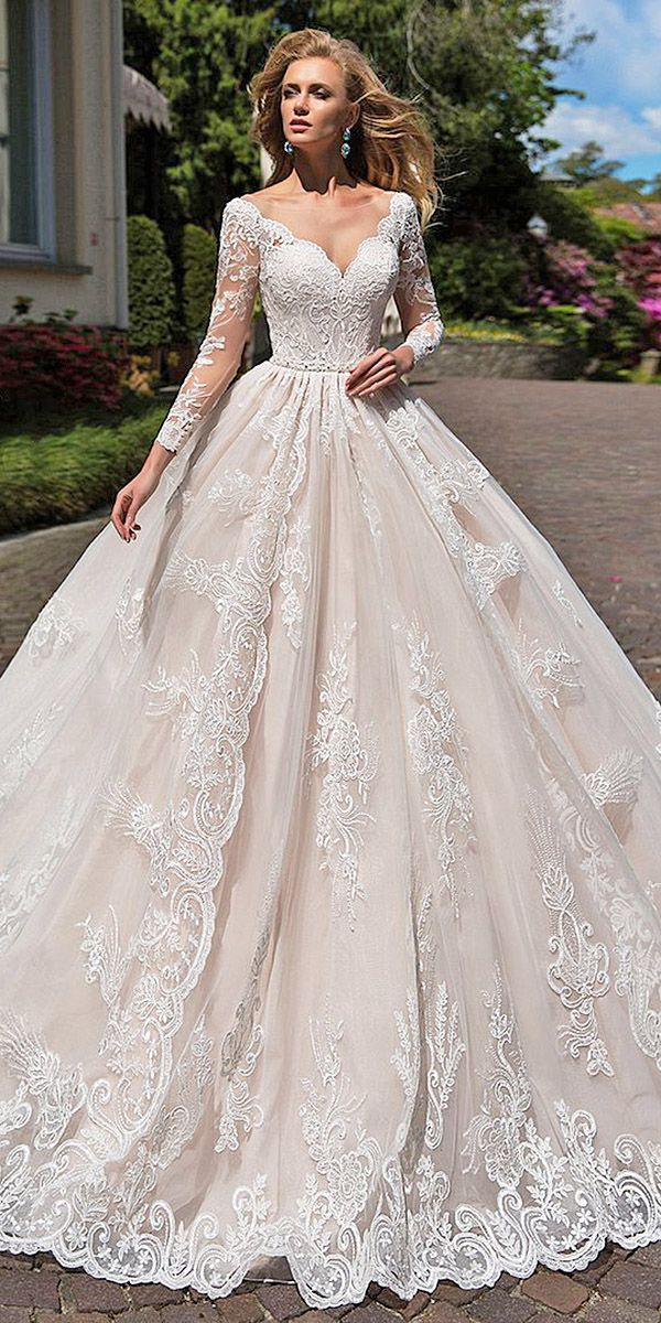 15 Illusion Long Sleeve Wedding Dresses You'll Like ❤ ball gown sweetheart ful…