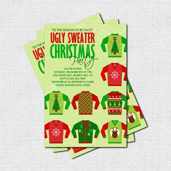 UGLY SWEATER Christmas Holiday Party INVITATION (printable) - Tis the season to