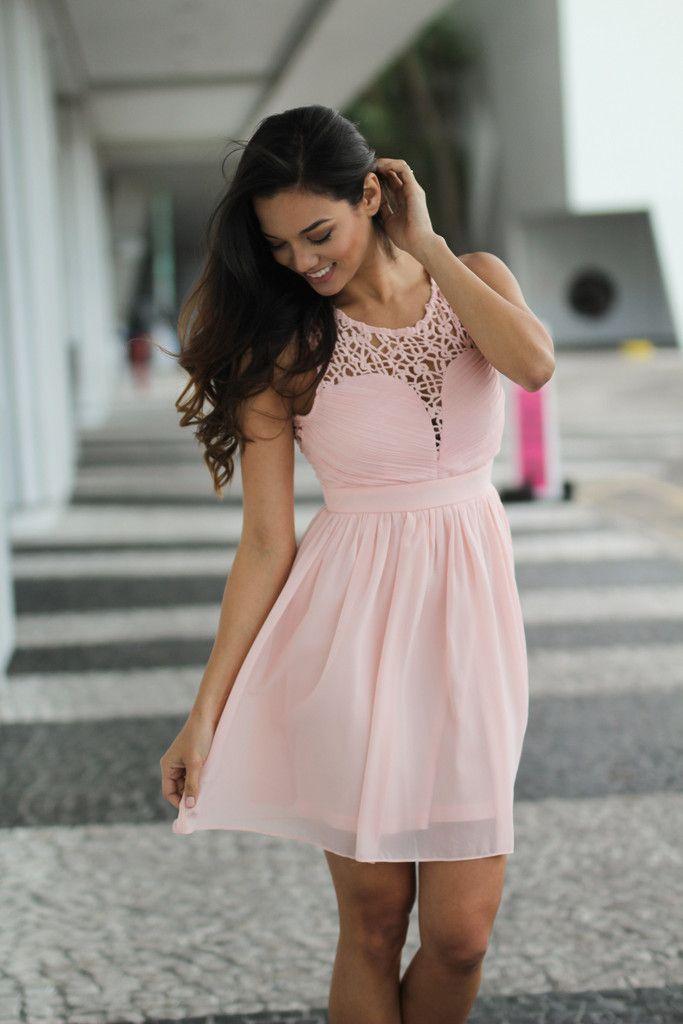 Pink Crochet Short Dress