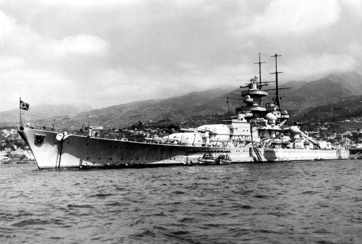 German 11 inch battleship Gneisenau, sister of the better known Scharnhorst - unlike the latter, her mainmast immediately abuts the funnel.  She was critically damaged by RAF bombing after the famous 'Channel Dash' of February 1942, and never went to sea again: her wreck was scrapped in 1951.