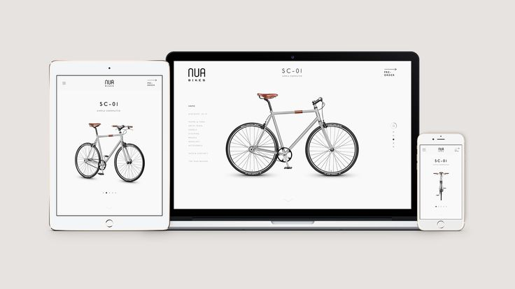 Nua Bikes responsive web design. Minimal one page website