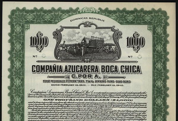 NumisBids: Archives International Auctions Auction 24, Lot 302 : Compania Azucarera Boca Chica C. por A. Specimen Bond. Dominican Republic, 1927, Vertical $1000 1st. Mortgage 15 year 7 1/2% Sinking Fund Gold Bond Specimen Certificate / AZPDO0001
