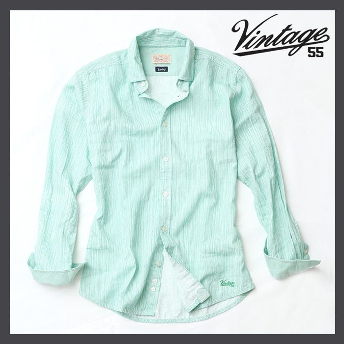 【Vintage55】ヴィンテージ55|イレギュラーストライプリネンシャツ|長袖|IRREGULAR STRIPED LINEN SHIRT|コットン|麻|綿|春|夏|秋|カラー|送料無料|メンズ|薄手|グリーン|緑|【楽天市場】