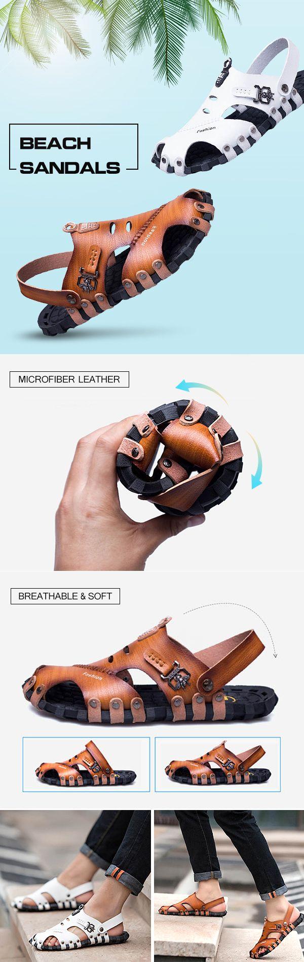 Men Closed Toe Rivet Decoration Breathable Soft Light Beach Leather Sandals
