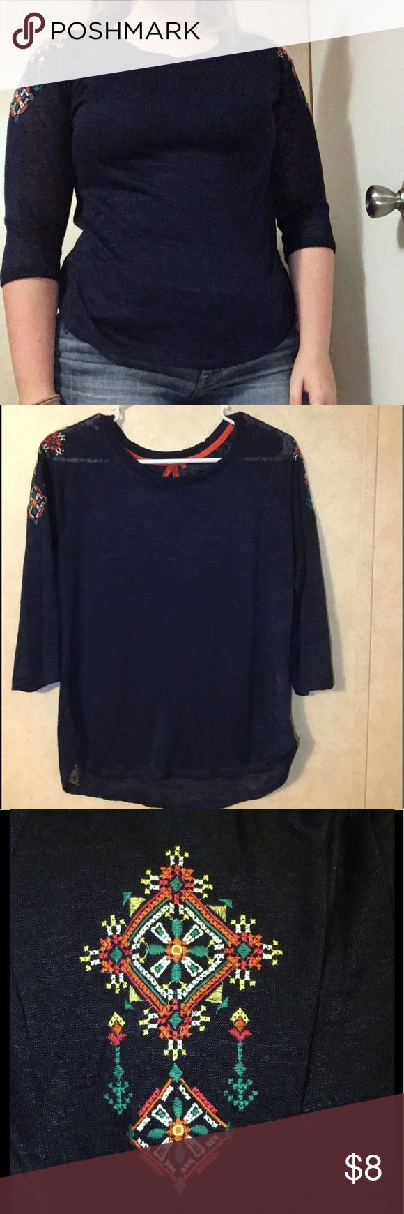 Red Camel navy sheer top 3/4 sleeves and multi-colored embellishments on shoulder. Could fit between M/L/XL. Only worn once! Red Camel Tops Blouses