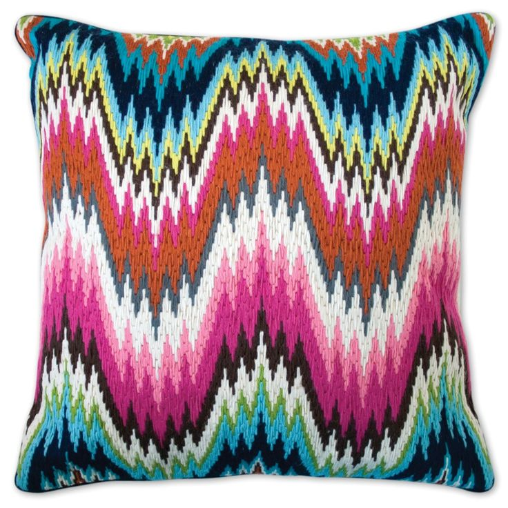"We took the classic Bargello flame stitch pattern and tweaked it. Like Palm Beach style on Acid.  • handmade 100% wool bargello • 20"" x 20"" • velvet backed with hidden zipper • feather/down insert  As seen in HGTV Magazine July/August 2014 Issue. **refer to photo 2**"