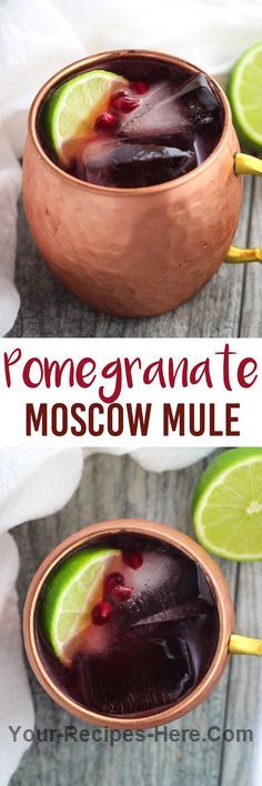 Tart pomegranate juice pairs well with ginger beer and lime in this Pomegranate Moscow Mule, a new take on a cocktail classic! Ingredients Produce 1/2 Lime, Juice of 2 oz Pomegranate, juice Drinks 6 oz Ginger beer Frozen 1 Ice Beer, Wine & Liquor 2 oz Vodka  Follow us for more Recipes in our website : http://www.your-recipes-here.com/