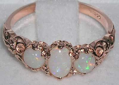 English 9K 9ct Rose Gold Opal Eternity Trilogy by GemsofLondon, $246.00 #opalsaustralia
