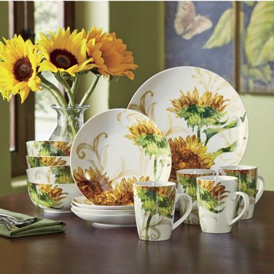 16 Piece Prairie Gold Dinnerware Set Nature S Bounty