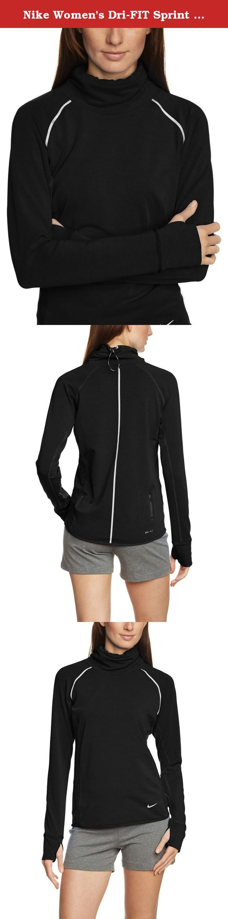 Nike Women's Dri-FIT Sprint Fleece Pullover Running Top, Black, Large. The Nike Dri-FIT Sprint Fleece Pullover Women's Running Top features an adjustable cowl neck and soft sweatwicking fabric for lightweight comfort on coolweather runs.