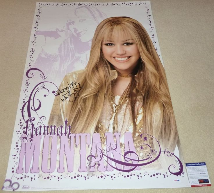 "PSA/DNA MILEY CYRUS ""ROCK ON"" VINTAGE AUTOGRAPHED-SIGNED HANNAH MONTANA POSTER 0"