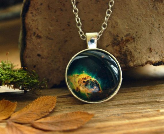 Space Nebula pendant Space necklace silver by InviolaJewerly