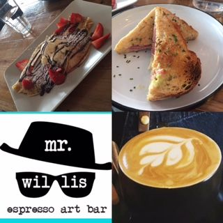 MR Willis Espresso art bar café – Geelong East, Victoria.  The new East Geelong espresso art bar is a coffee shop, creative gallery, tapas den and cocktail nightspot all rolled into one trendy cafe. Its multidimensional nature reflects the input of the four owners, all of whom have different interests. But the result is a thriving, balanced space that offers an 80 per cent gluten-free menu Mr Willis has a breakfast menu until 2.30pm each day.