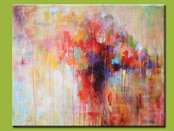 Resumen original pintura acrílico pintura roja por artbyoak1