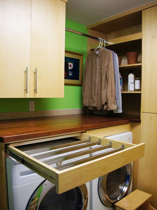 Ways to build in air drying options to your laundry room. Photo only, no tutorial.