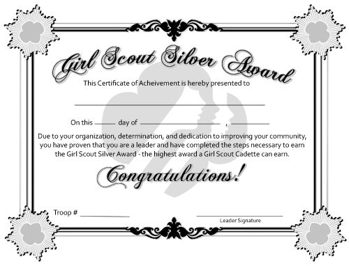 Free Printable Bronze, Silver, and Gold Award Certificates for Girl ...
