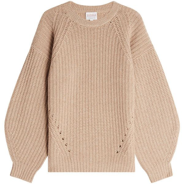 Claudia Schiffer Pullover ($385) ❤ liked on Polyvore featuring tops, sweaters, camel, sweater pullover, camel sweater, beige top, camel top and beige sweater