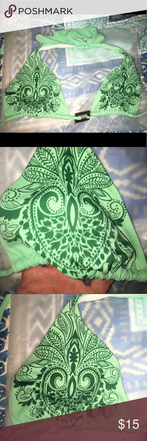Victoria Secret triangle bikini top Green paisley design triangle bikini top - tie close - unlined and thin - front held together by brown plastic mock wood square bead- gently used Victoria's Secret Swim Bikinis