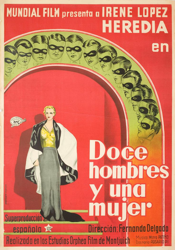 Doce hombres y una mujer 1934 Spanish B1 Poster