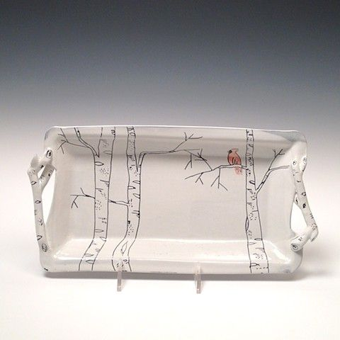 White Birch Tray with Red Bird