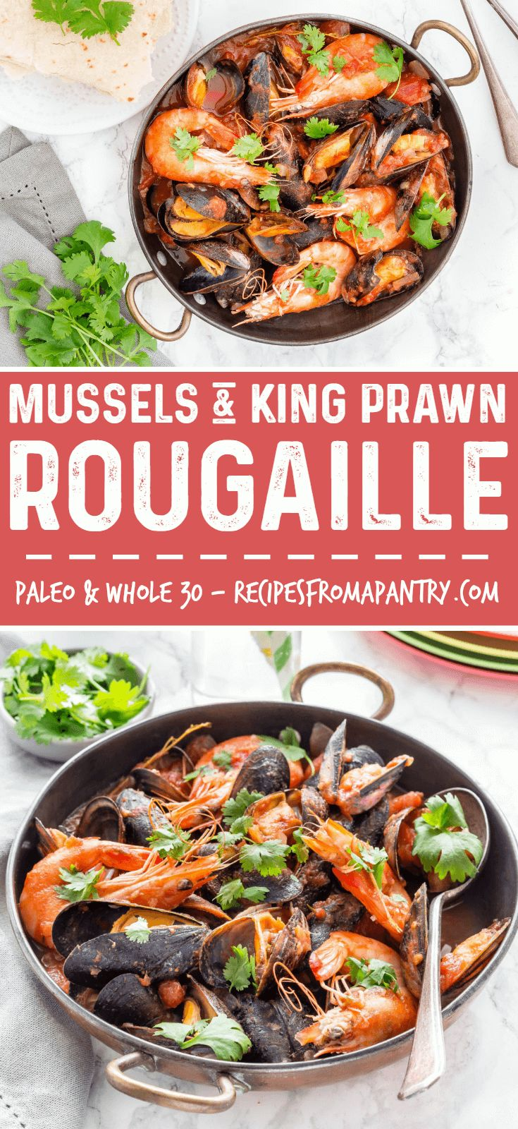 This Prawn and Mussels Rougaille is one of the classic Mauritian Recipes with richly flavoured tomato sauce that combines Creole cuisine flavours like onions, thyme, garlic and chillies. Gluten-free, Paleo, Whole 30 diet friendly. #rougaille #mauritianrecipes #rougailsaucisse #recetterougailtomate #mauritianfishrougaille via @recipespantry