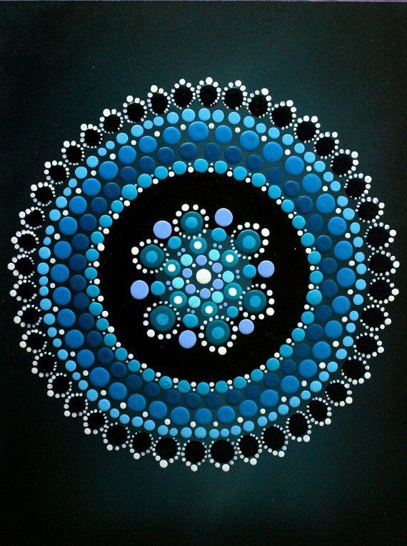 Grusskarte blauer Edelstein Mandala von ArtbyKirstyRussell auf Etsy