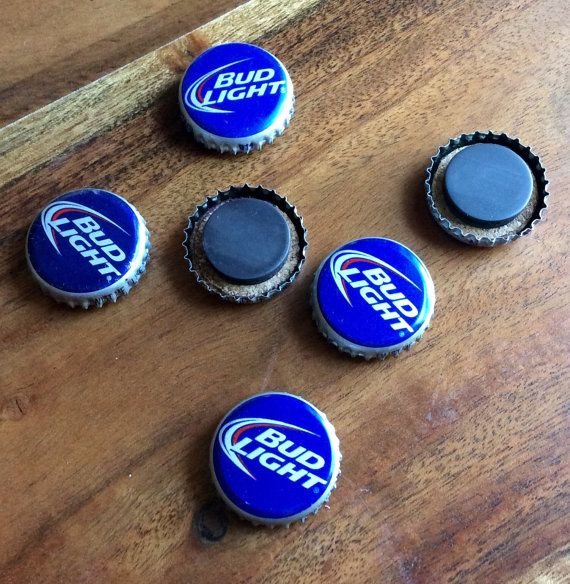 Bud Light Beer Cap Magnets by JustForBrew on Etsy