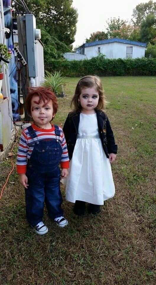 Chucky and his bride. 10/31/15 Halloween costumes for toddlers.