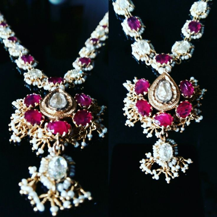 Antique Burmese Ruby, Diamond and Seed Pearl Necklace. 19th Century. India