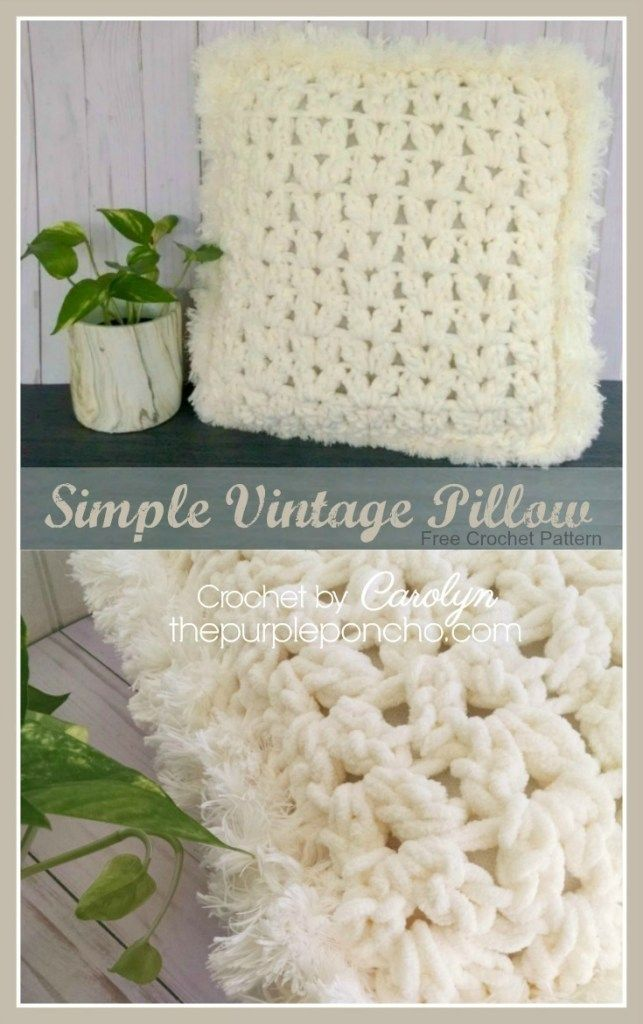 Simple Vintage Pillow A Free Crochet Pattern On The Purple Poncho Homedecor Pillows