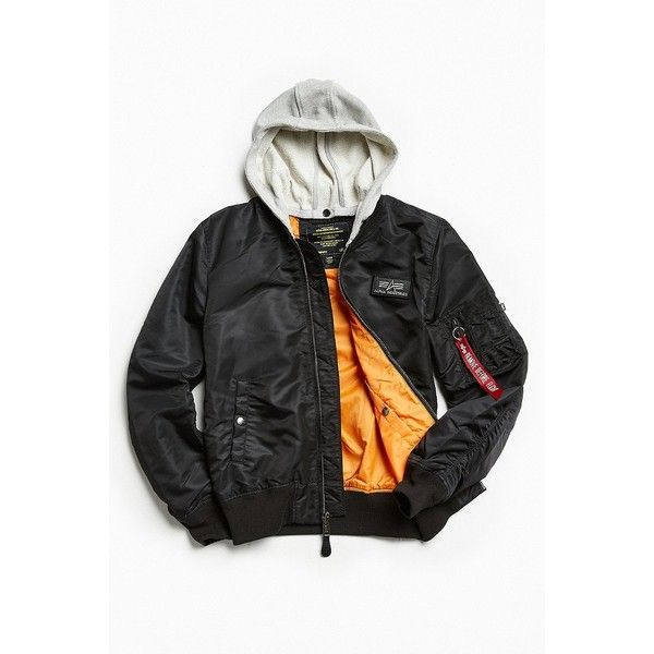 Alpha Industries L-2B Hooded Bomber Jacket ($169) ❤ liked on Polyvore featuring men's fashion, men's clothing, men's outerwear, men's jackets, mens lightweight field jacket, mens hooded jackets, mens short sleeve jacket, mens lightweight bomber jacket and mens light weight jackets