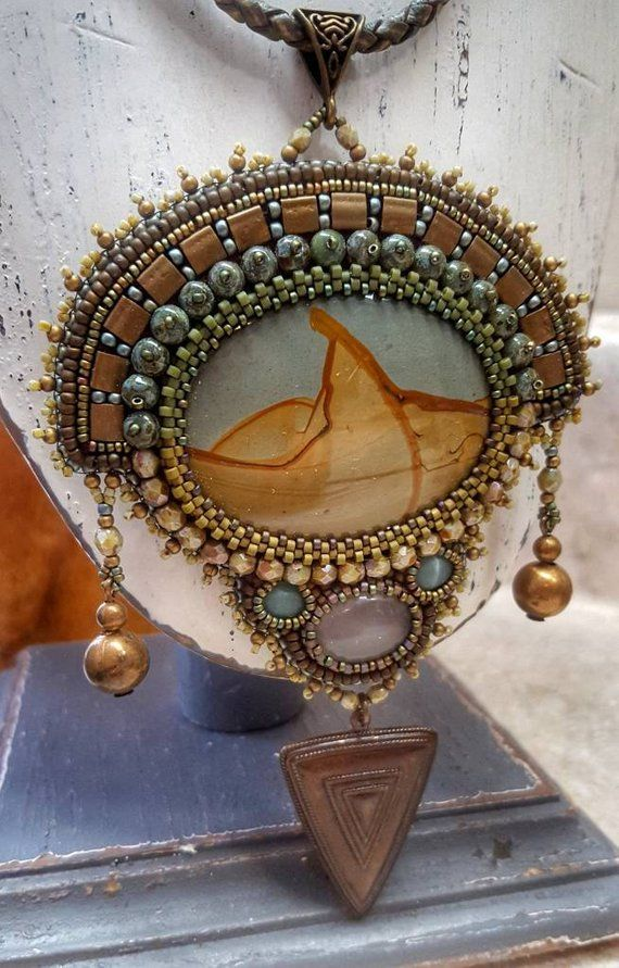 Beaded Necklace Bead Embroidery Pendant Necklace Statement