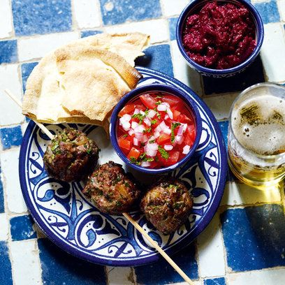 Moroccan lamb meatball kebabs recipe. For the full recipe, click the picture or visit RedOnline.co.uk