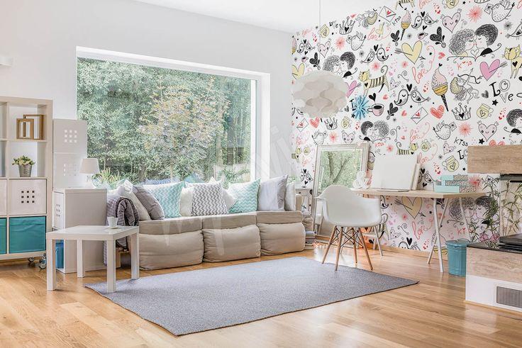 Du papier peint dans une chambre d