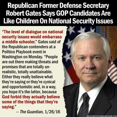 Former Defense Secretary Robert Gates Compares GOP Candidates To Children