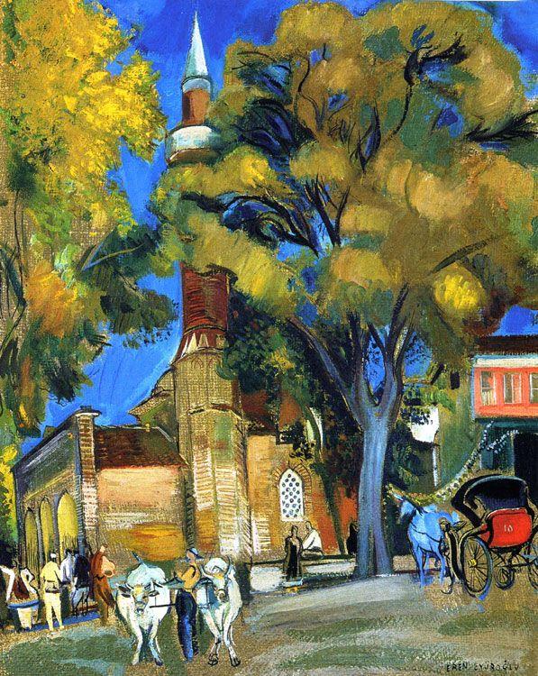 intro-1945 Eyüboğlu Eren Romanya'da doğmuş, o Iasi'deki Academie des Beaux Arts'da okudu. 1929 yılında resim çalışmalarına Paris'e taşındı. O 1936 Bedri Rahmi Eyüboğlu ressam evlendi. cami ile peyzaj panelinde yağ Koleksiyonu boya Çağa - 57 x 43 cm Ahşap
