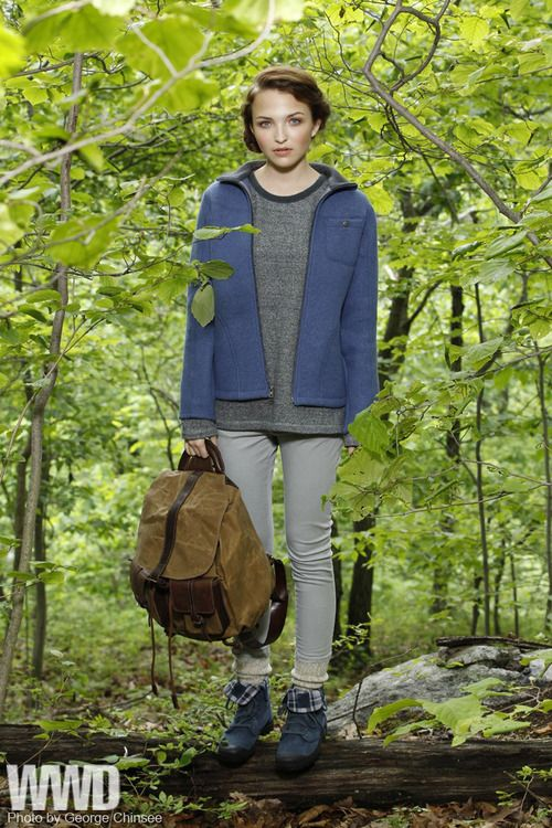 Sportswear Trend: Into the Woods  Ibex Outdoor Clothing's wool jacket with J + Co.'s cotton sweatshirt and jeans. Sandast backpack; Wigwam sock; Palladium boots.