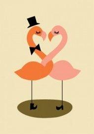 Darling  Clementine `Kaart Flamingo`s` | Ansichtkaarten | Petite Louise