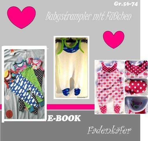 Das E-Book beinhaltet ein Schnittmuster für einen Babystrampler in den Größen 56-74. Der Strampler ist mit Füßchen gefertigt, so haben die ♥kleinen...