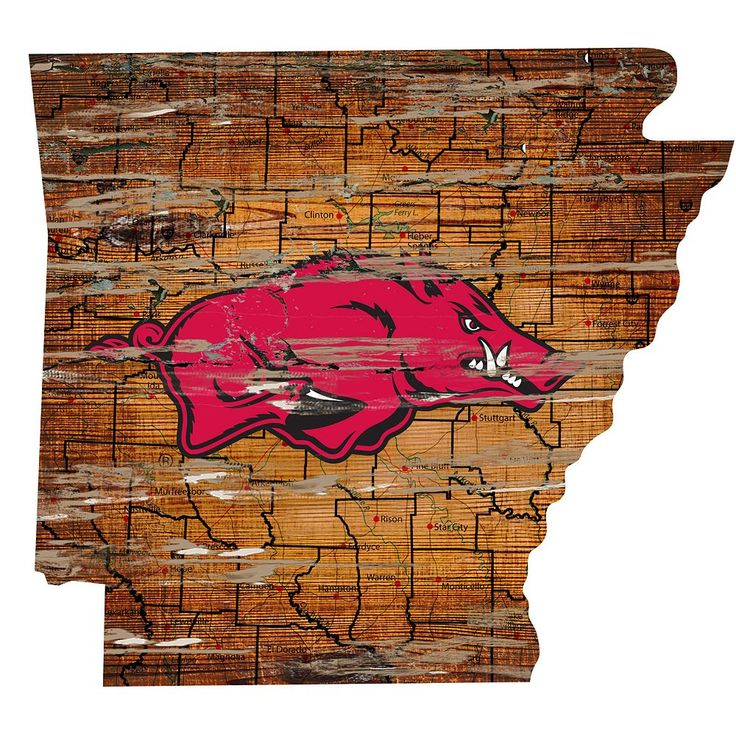 "Arkansas Razorbacks Distressed 24"" x 24"" State Wall Art, Multicolor"