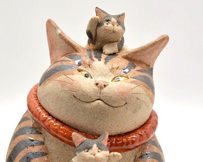 水谷満(絵夢工房)作 満福招き猫 顔アップ 親子