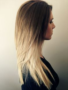 Gorgeous hair color. Honey golden brown to a stunning bright blonde. Disconnected short layers up top for some added volume while still maintaining a thick bottom line.