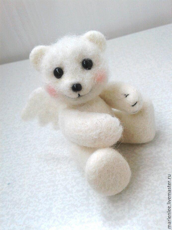 """Купить Мишка """"Ангел"""" валяный - белый, мишка, мишка ручной работы, мишка в подарок"""